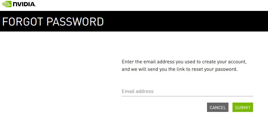 Fogot Nvidia account password