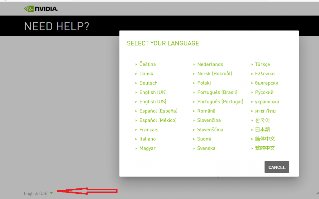 Change language on Nvidia account